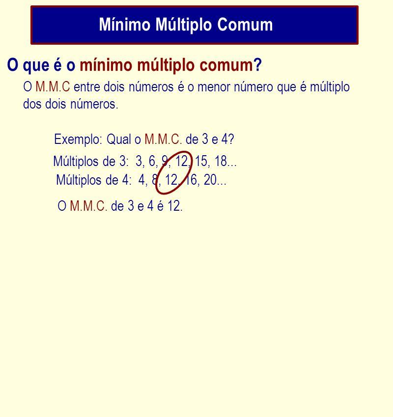 Mínimo Múltiplo Comum O M.M.C entre dois números é o menor número que é múltiplo dos dois números. Exemplo: Qual o M.M.C. de 3 e 4? Múltiplos de 3: 3,
