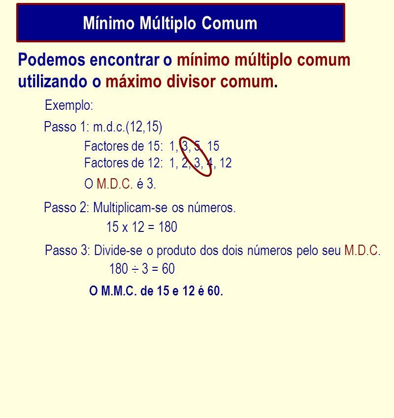 Mínimo Múltiplo Comum Podemos encontrar o mínimo múltiplo comum utilizando o máximo divisor comum. Factores de 15: 1, 3, 5, 15 Factores de 12: 1, 2, 3