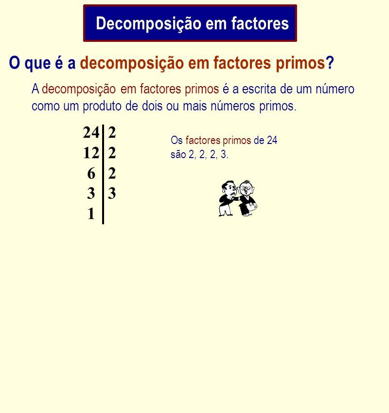Os factores primos de 24 são 2, 2, 2, 3. A decomposição em factores primos é a escrita de um número como um produto de dois ou mais números primos. O