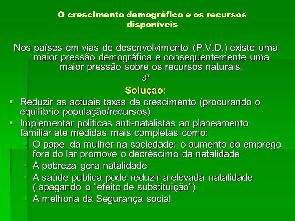 Nos países em vias de desenvolvimento (P.V.D.) existe uma maior pressão demográfica e consequentemente uma maior pressão sobre os recursos naturais. S