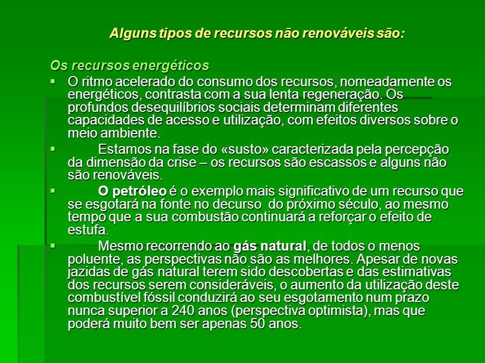 Alguns tipos de recursos não renováveis são: Os recursos energéticos O ritmo acelerado do consumo dos recursos, nomeadamente os energéticos, contrasta