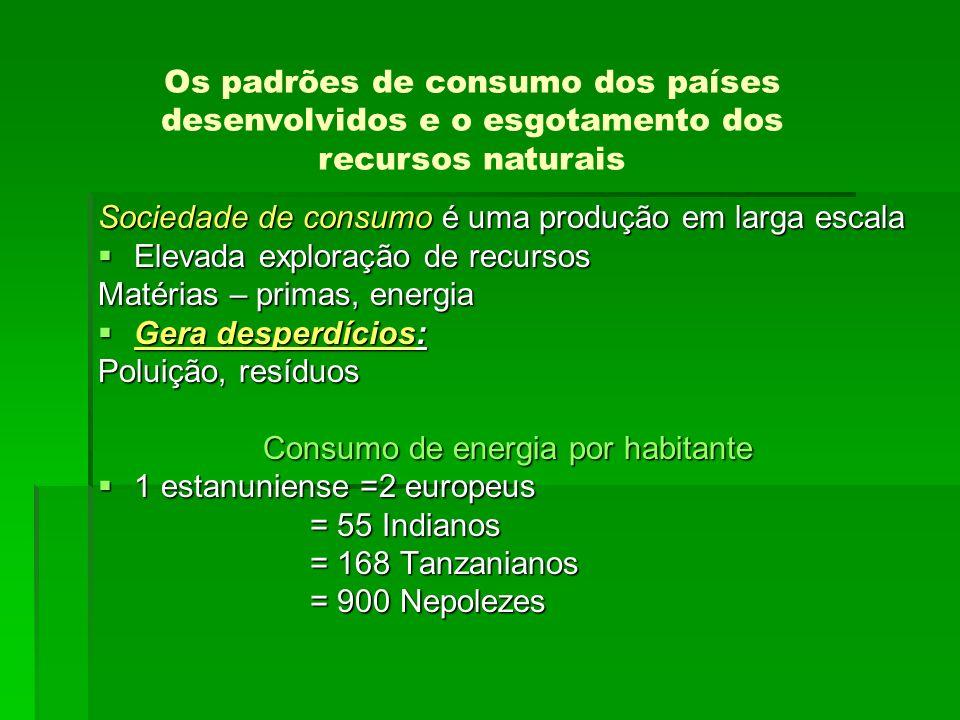 Sociedade de consumo é uma produção em larga escala Elevada exploração de recursos Elevada exploração de recursos Matérias – primas, energia Gera desp