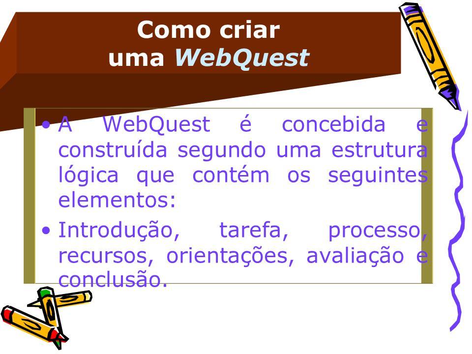Como criar uma WebQuest A WebQuest é concebida e construída segundo uma estrutura lógica que contém os seguintes elementos: Introdução, tarefa, proces