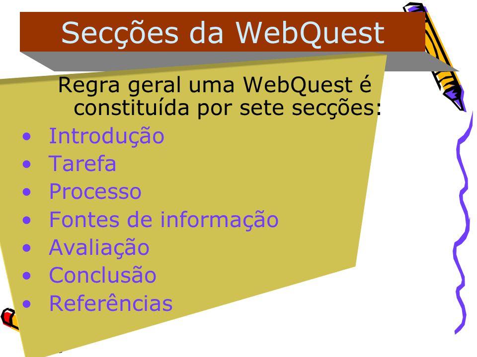Secções da WebQuest Regra geral uma WebQuest é constituída por sete secções: Introdução Tarefa Processo Fontes de informação Avaliação Conclusão Refer