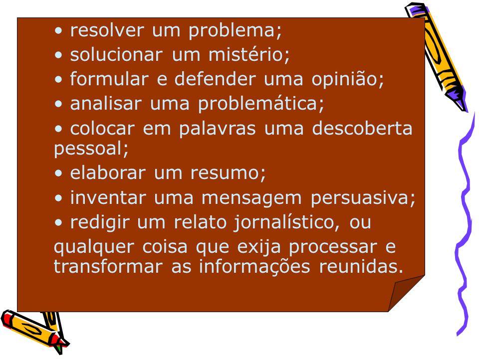 resolver um problema; solucionar um mistério; formular e defender uma opinião; analisar uma problemática; colocar em palavras uma descoberta pessoal;