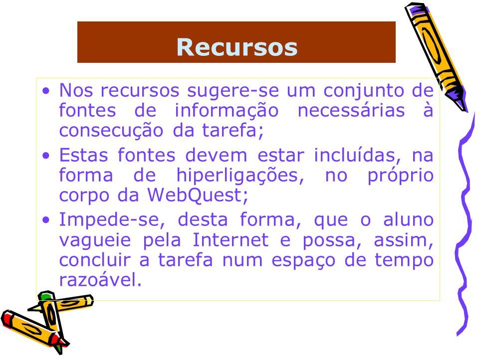 Recursos Nos recursos sugere-se um conjunto de fontes de informação necessárias à consecução da tarefa; Estas fontes devem estar incluídas, na forma d