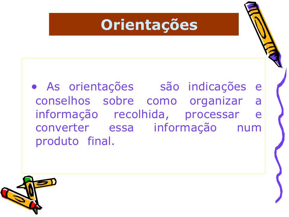 Orientações As orientações são indicações e conselhos sobre como organizar a informação recolhida, processar e converter essa informação num produto f