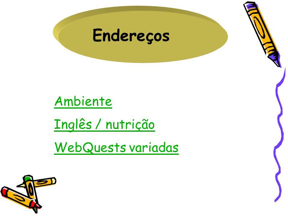 Endereços Ambiente Inglês / nutrição WebQuests variadas