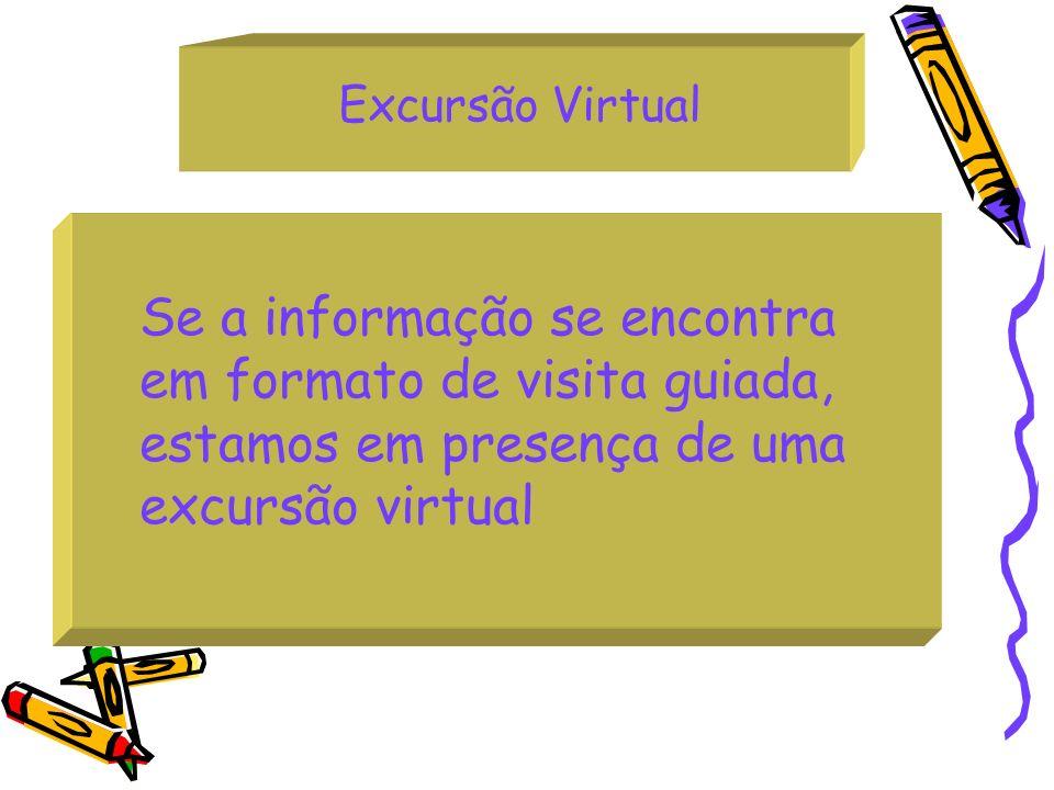 Excursão Virtual Se a informação se encontra em formato de visita guiada, estamos em presença de uma excursão virtual
