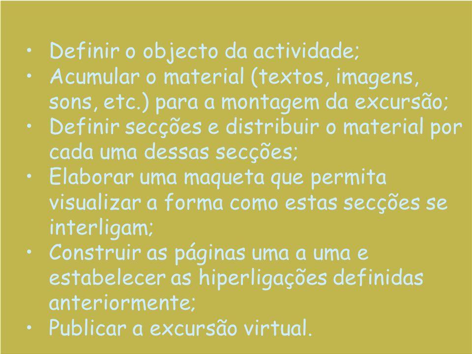 Definir o objecto da actividade; Acumular o material (textos, imagens, sons, etc.) para a montagem da excursão; Definir secções e distribuir o materia