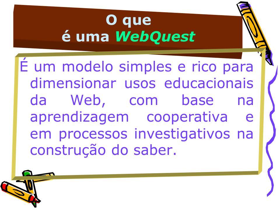 O que é uma WebQuest É um modelo simples e rico para dimensionar usos educacionais da Web, com base na aprendizagem cooperativa e em processos investi