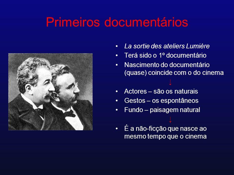 Primeiros documentários La sortie des ateliers Lumière Terá sido o 1º documentário Nascimento do documentário (quase) coincide com o do cinema Actores