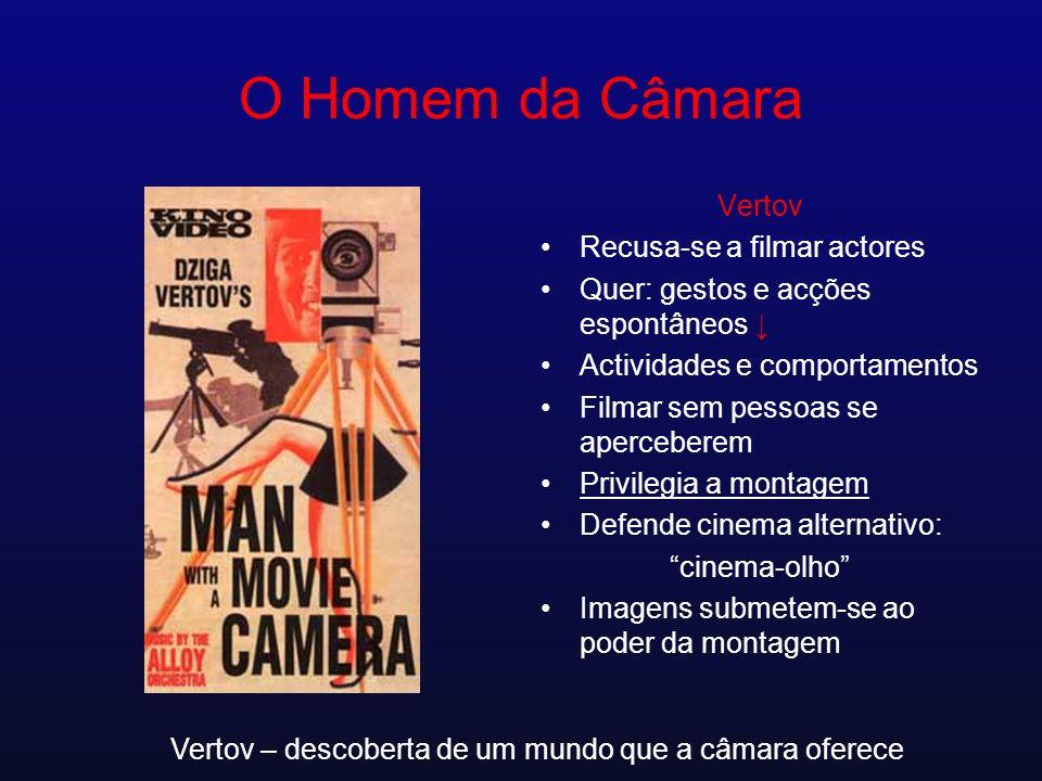 O Homem da Câmara Vertov Recusa-se a filmar actores Quer: gestos e acções espontâneos Actividades e comportamentos Filmar sem pessoas se aperceberem P