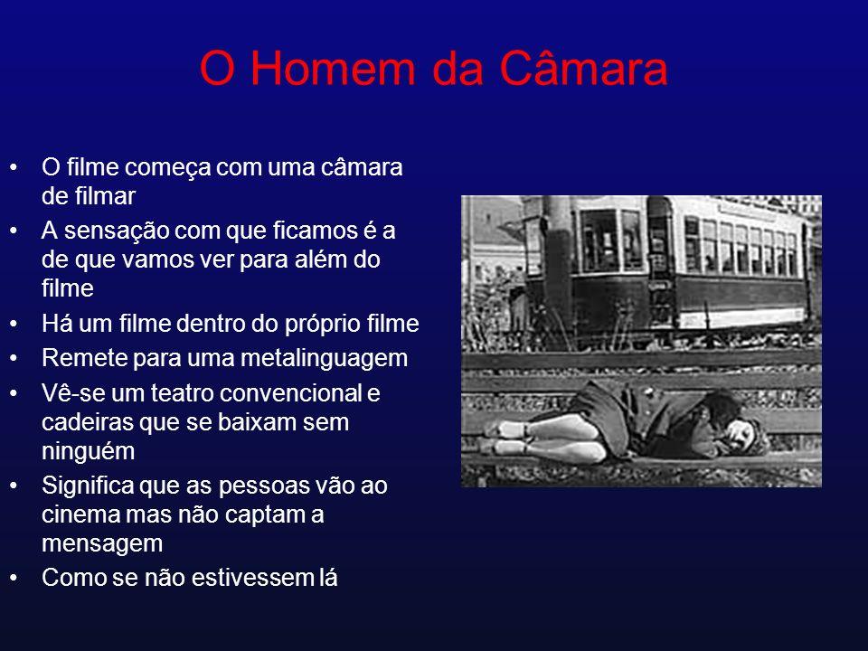 O Homem da Câmara O filme começa com uma câmara de filmar A sensação com que ficamos é a de que vamos ver para além do filme Há um filme dentro do pró