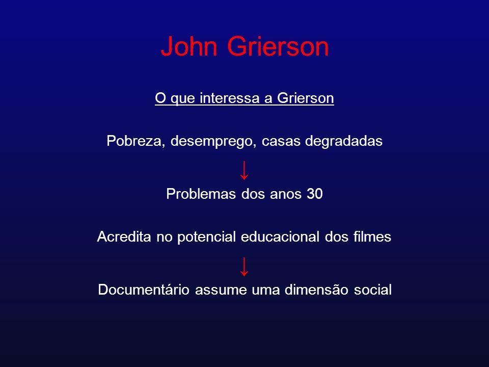 John Grierson O que interessa a Grierson Pobreza, desemprego, casas degradadas Problemas dos anos 30 Acredita no potencial educacional dos filmes Docu