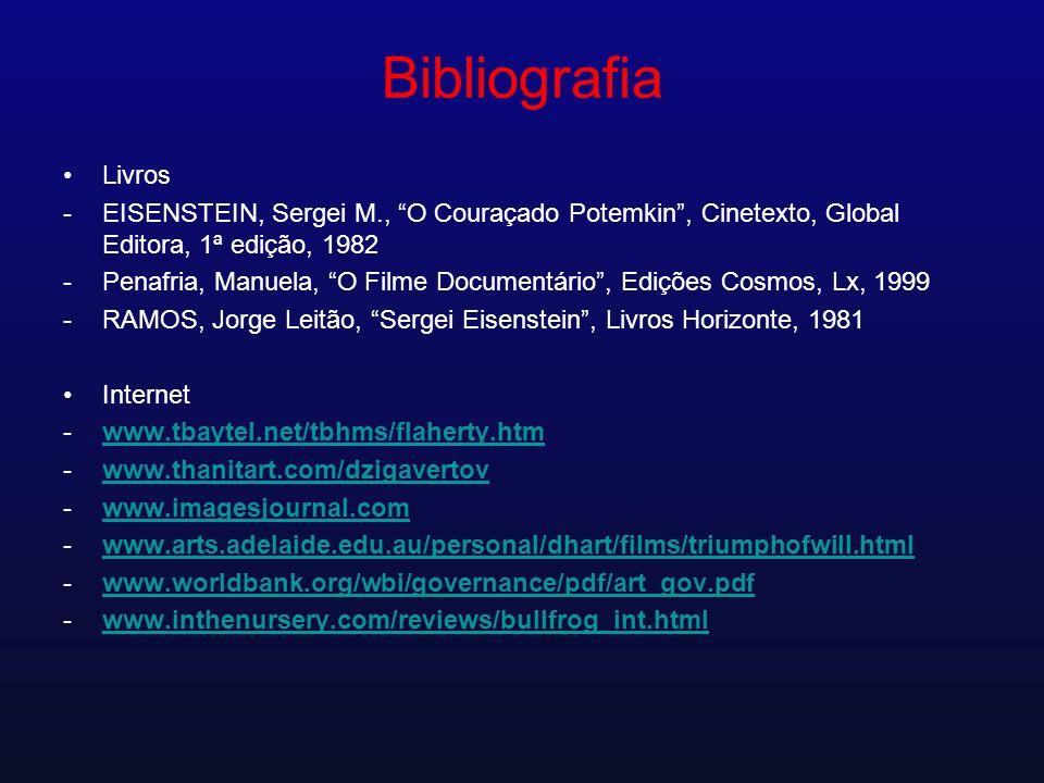 Bibliografia Livros -EISENSTEIN, Sergei M., O Couraçado Potemkin, Cinetexto, Global Editora, 1ª edição, 1982 -Penafria, Manuela, O Filme Documentário,