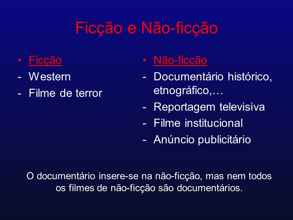Ficção e Não-ficção Ficção -Western -Filme de terror Não-ficção -Documentário histórico, etnográfico,… -Reportagem televisiva -Filme institucional -An