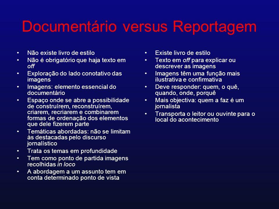 Documentário versus Reportagem Não existe livro de estilo Não é obrigatório que haja texto em off Exploração do lado conotativo das imagens Imagens: e