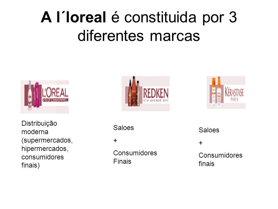 A l´loreal é constituida por 3 diferentes marcas Distribuição moderna (supermercados, hipermercados, consumidores finais) Saloes + Consumidores Finais Saloes + Consumidores finais