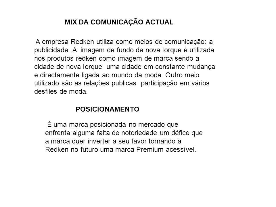 MIX DA COMUNICAÇÃO ACTUAL A empresa Redken utiliza como meios de comunicação: a publicidade.