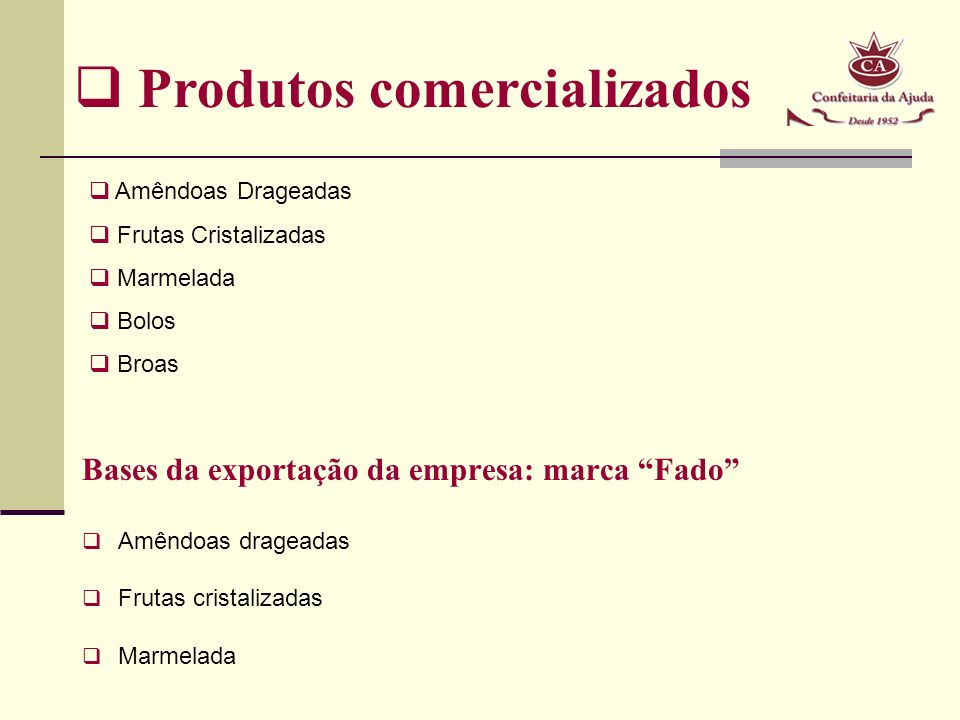 Bases da exportação da empresa: marca Fado Amêndoas drageadas Frutas cristalizadas Marmelada Produtos comercializados Amêndoas Drageadas Frutas Cristalizadas Marmelada Bolos Broas