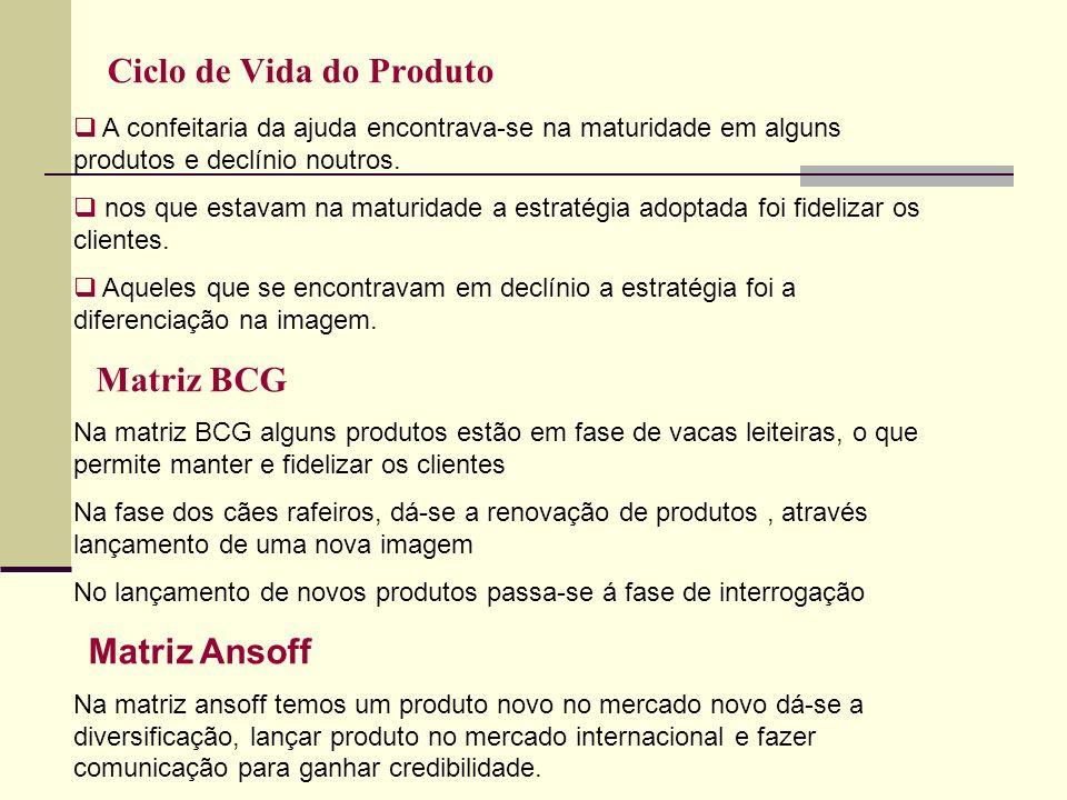 Ciclo de Vida do Produto A confeitaria da ajuda encontrava-se na maturidade em alguns produtos e declínio noutros. nos que estavam na maturidade a est