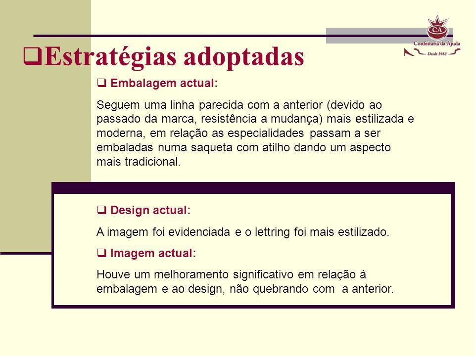 Estratégias adoptadas Embalagem actual: Seguem uma linha parecida com a anterior (devido ao passado da marca, resistência a mudança) mais estilizada e
