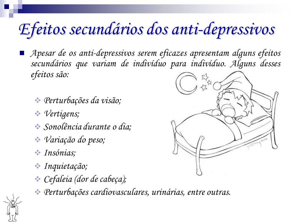 Efeitos secundários dos anti-depressivos Efeitos secundários dos anti-depressivos Apesar de os anti-depressivos serem eficazes apresentam alguns efeit