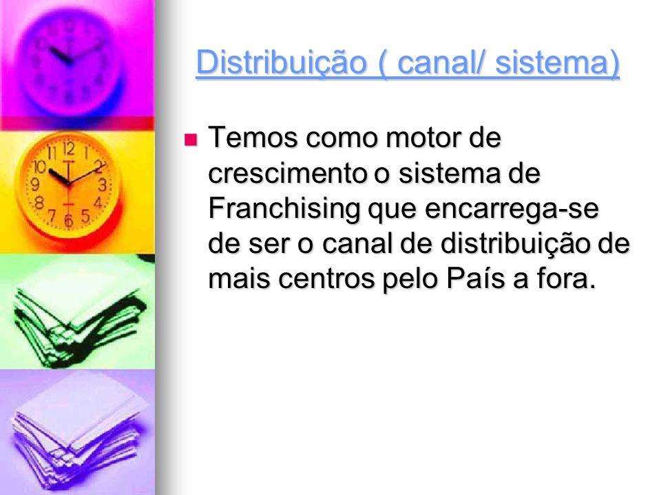 Distribuição ( canal/ sistema) Temos como motor de crescimento o sistema de Franchising que encarrega-se de ser o canal de distribuição de mais centro