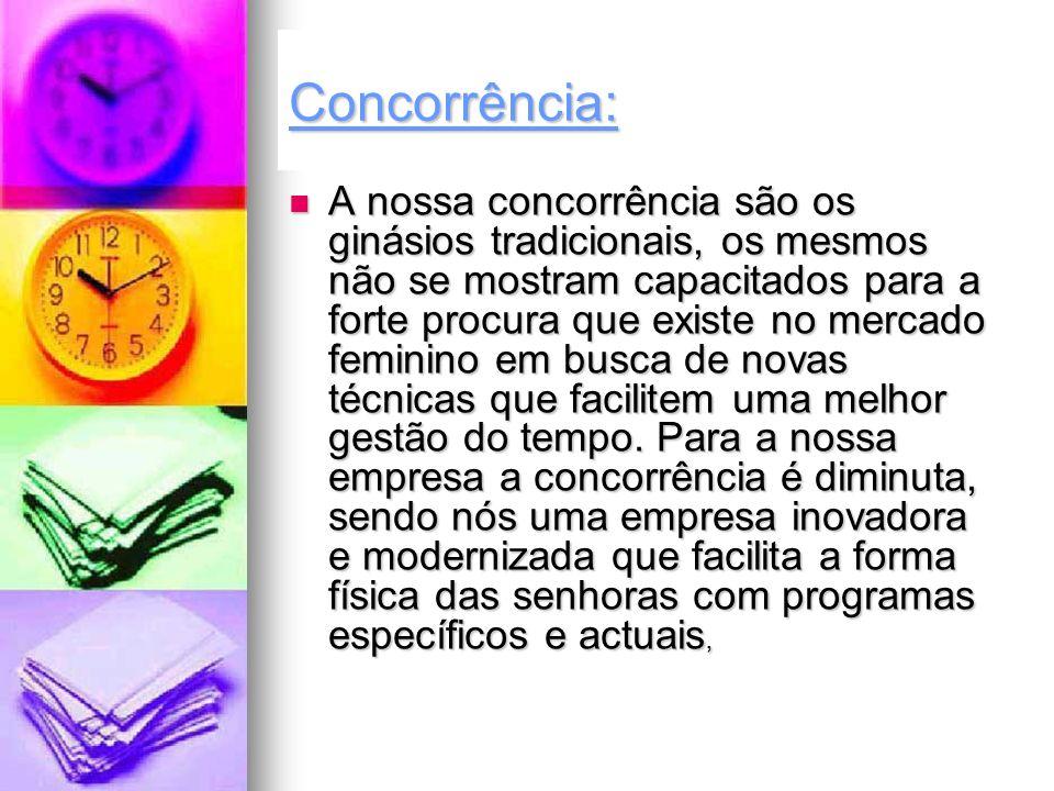 A nossa concorrência são os ginásios tradicionais, os mesmos não se mostram capacitados para a forte procura que existe no mercado feminino em busca d