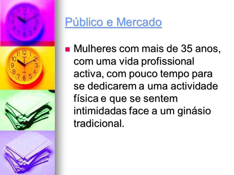 Público e Mercado Mulheres com mais de 35 anos, com uma vida profissional activa, com pouco tempo para se dedicarem a uma actividade física e que se s