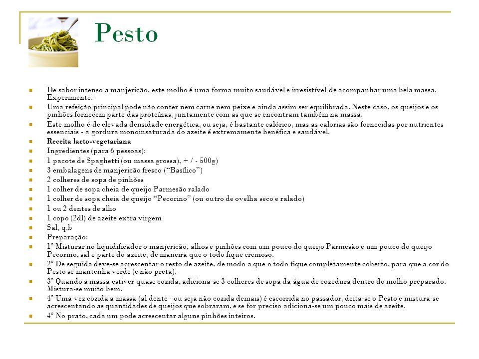 Pesto De sabor intenso a manjericão, este molho é uma forma muito saudável e irresistível de acompanhar uma bela massa.