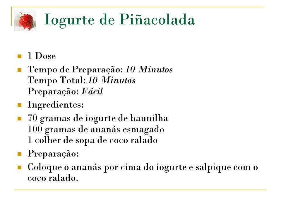 Iogurte de Piñacolada 1 Dose Tempo de Preparação: 10 Minutos Tempo Total: 10 Minutos Preparação: Fácil Ingredientes: 70 gramas de iogurte de baunilha 100 gramas de ananás esmagado 1 colher de sopa de coco ralado Preparação: Coloque o ananás por cima do iogurte e salpique com o coco ralado.