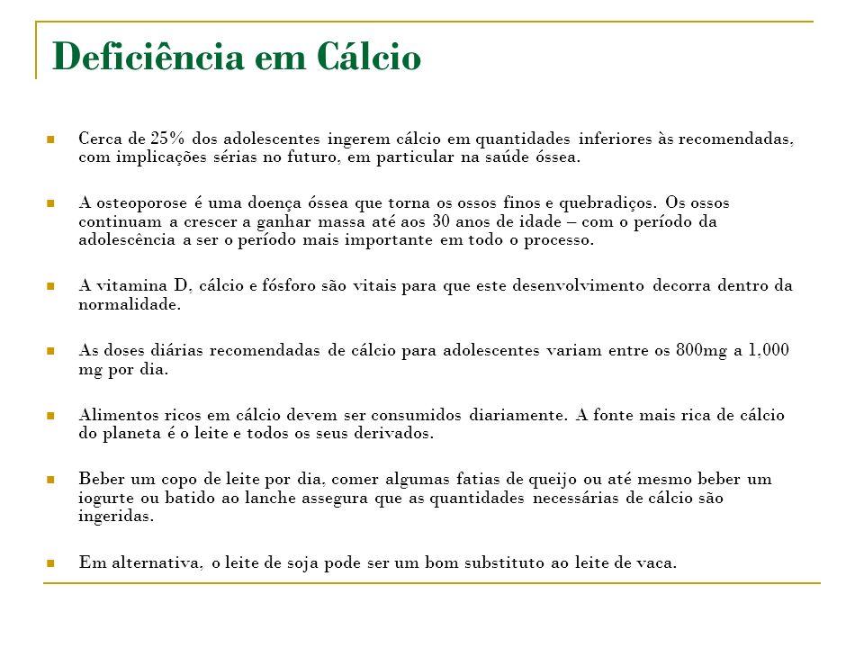 Deficiência em Cálcio Cerca de 25% dos adolescentes ingerem cálcio em quantidades inferiores às recomendadas, com implicações sérias no futuro, em particular na saúde óssea.