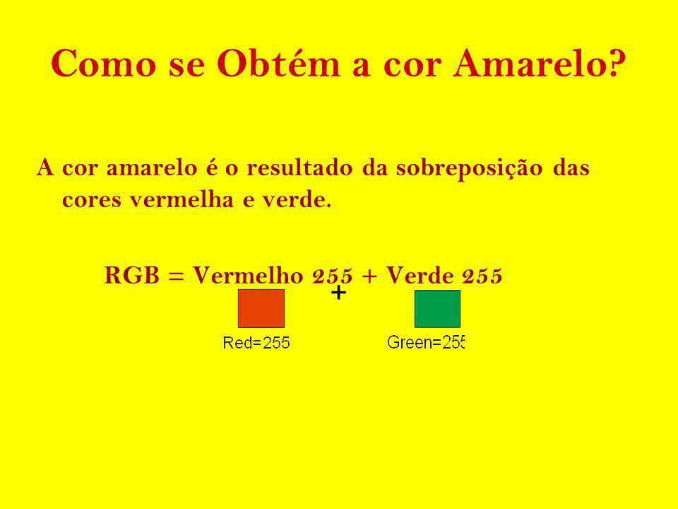 Como se Obtém a cor Amarelo? A cor amarelo é o resultado da sobreposição das cores vermelha e verde. RGB = Vermelho 255 + Verde 255 +