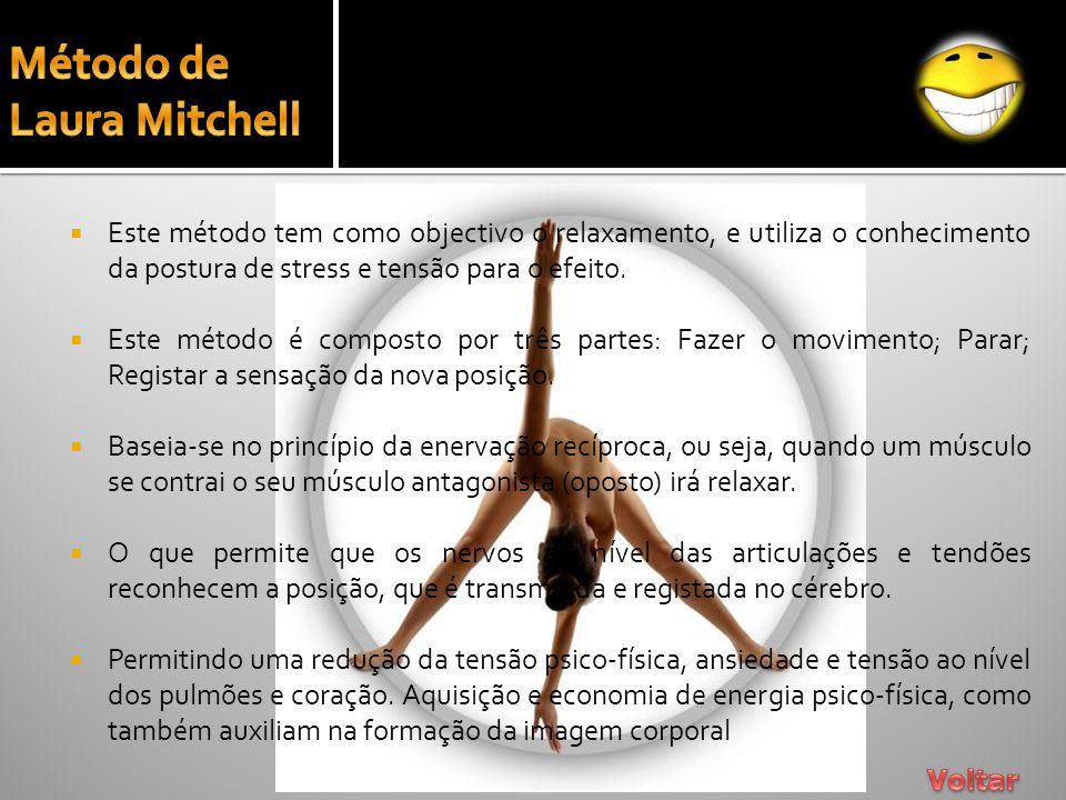 Este método tem como objectivo o relaxamento, e utiliza o conhecimento da postura de stress e tensão para o efeito. Este método é composto por três pa