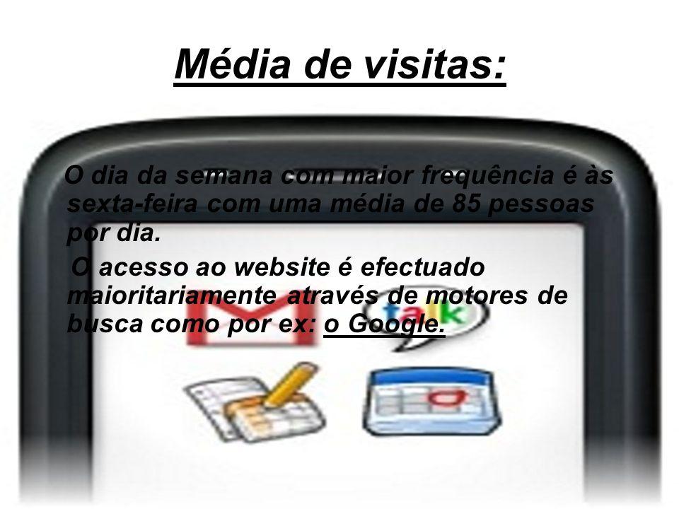 Média de visitas: O dia da semana com maior frequência é às sexta-feira com uma média de 85 pessoas por dia. O acesso ao website é efectuado maioritar