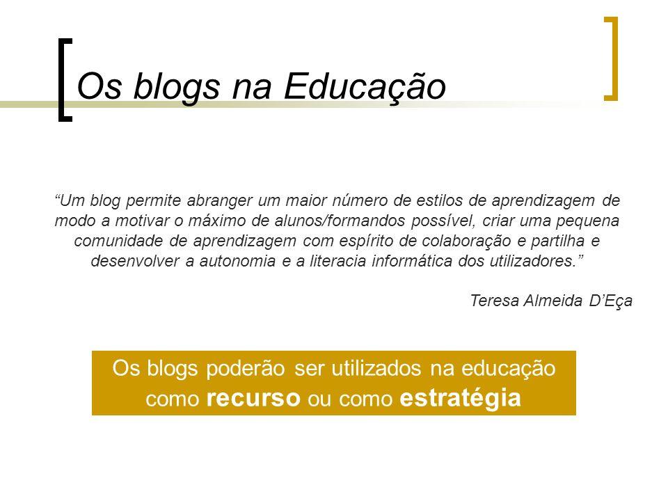 Os blogs na Educação Um blog permite abranger um maior número de estilos de aprendizagem de modo a motivar o máximo de alunos/formandos possível, cria