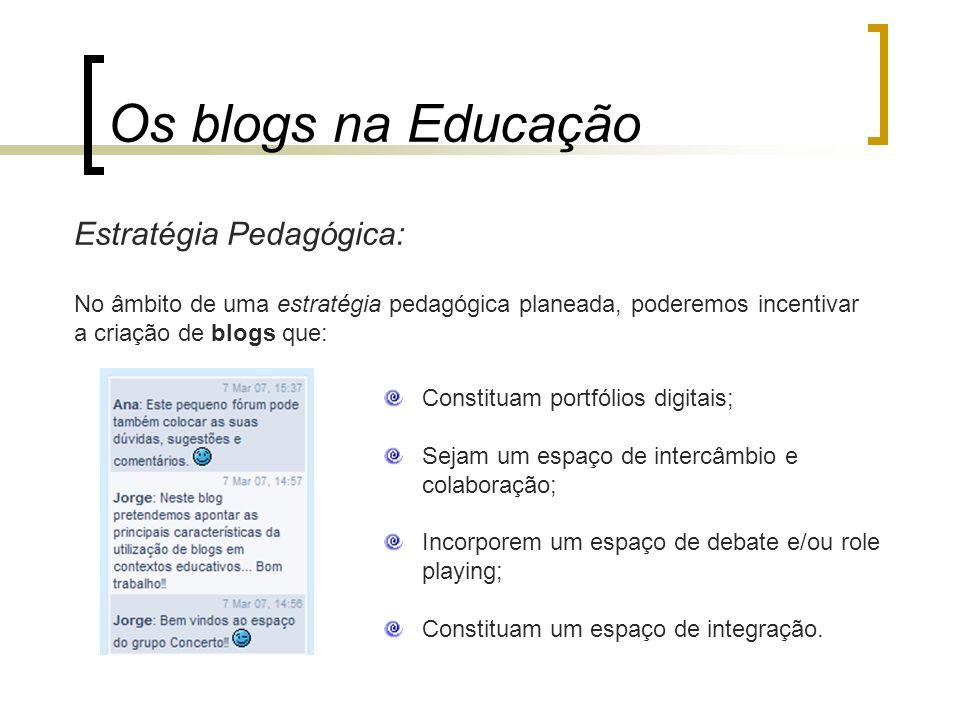 Estratégia Pedagógica: Os blogs na Educação Constituam portfólios digitais; Sejam um espaço de intercâmbio e colaboração; Incorporem um espaço de deba