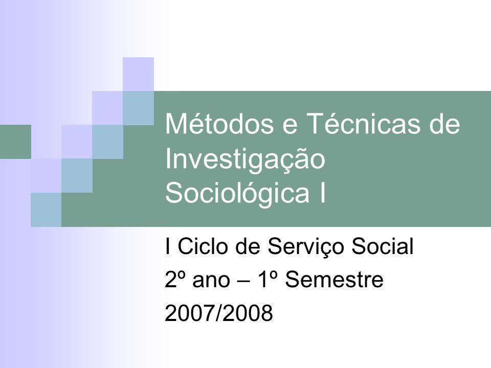 Métodos e Técnicas de Investigação Sociológica I I Ciclo de Serviço Social 2º ano – 1º Semestre 2007/2008