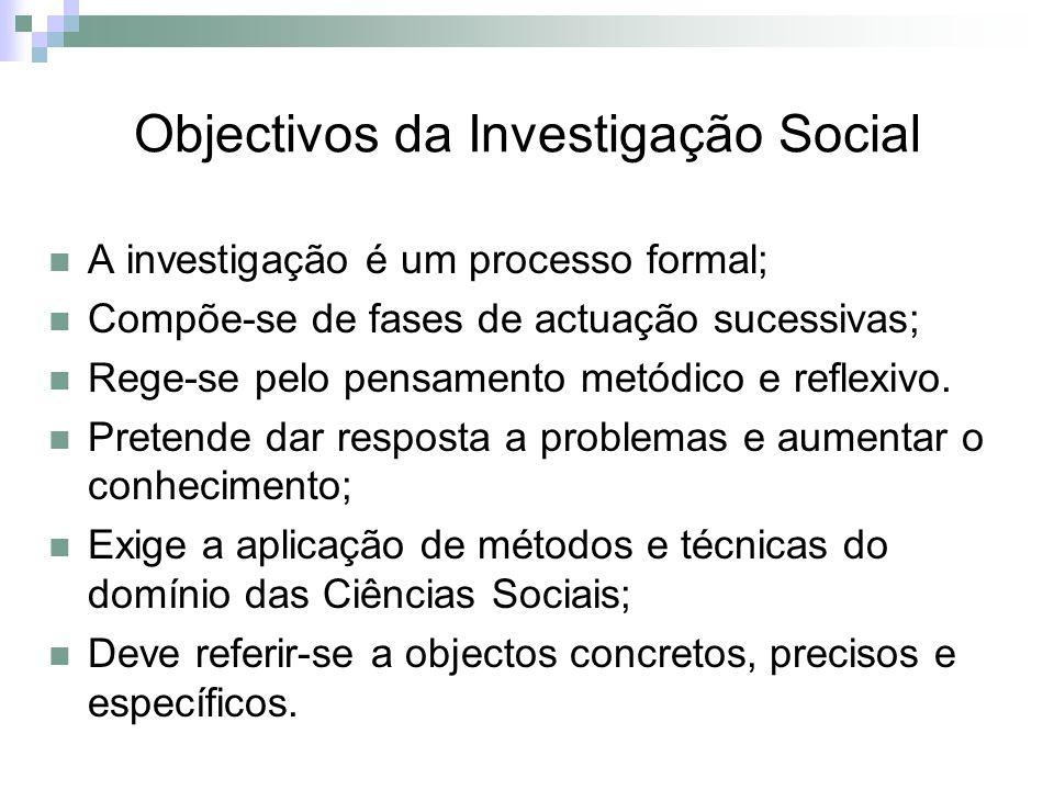 Objectivos da Investigação Social A investigação é um processo formal; Compõe-se de fases de actuação sucessivas; Rege-se pelo pensamento metódico e r
