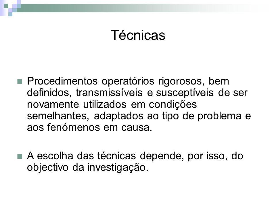 Técnicas Procedimentos operatórios rigorosos, bem definidos, transmissíveis e susceptíveis de ser novamente utilizados em condições semelhantes, adapt