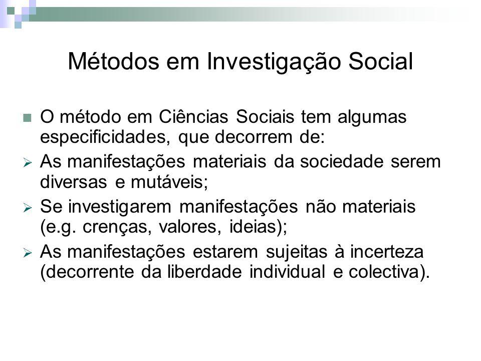 Métodos em Investigação Social O método em Ciências Sociais tem algumas especificidades, que decorrem de: As manifestações materiais da sociedade sere