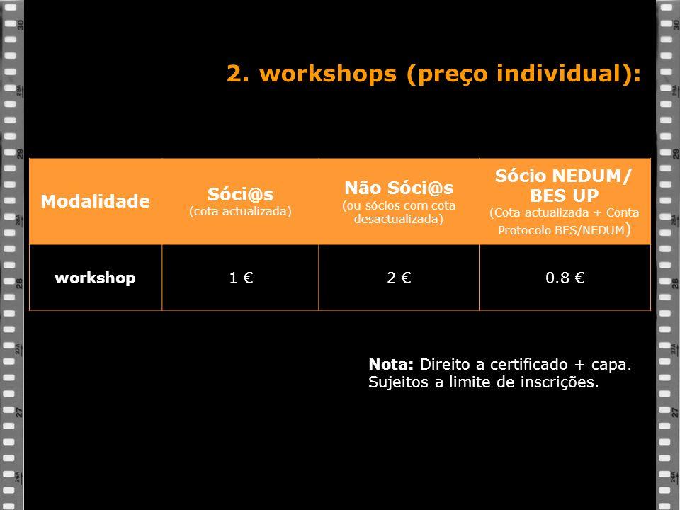 2. workshops (preço individual): Modalidade Sóci@s (cota actualizada) Não Sóci@s (ou sócios com cota desactualizada) Sócio NEDUM/ BES UP (Cota actuali