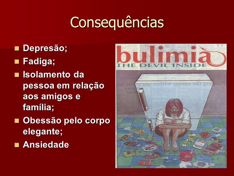 Consequências Depresão; Depresão; Fadiga; Fadiga; Isolamento da pessoa em relação aos amigos e família; Isolamento da pessoa em relação aos amigos e f