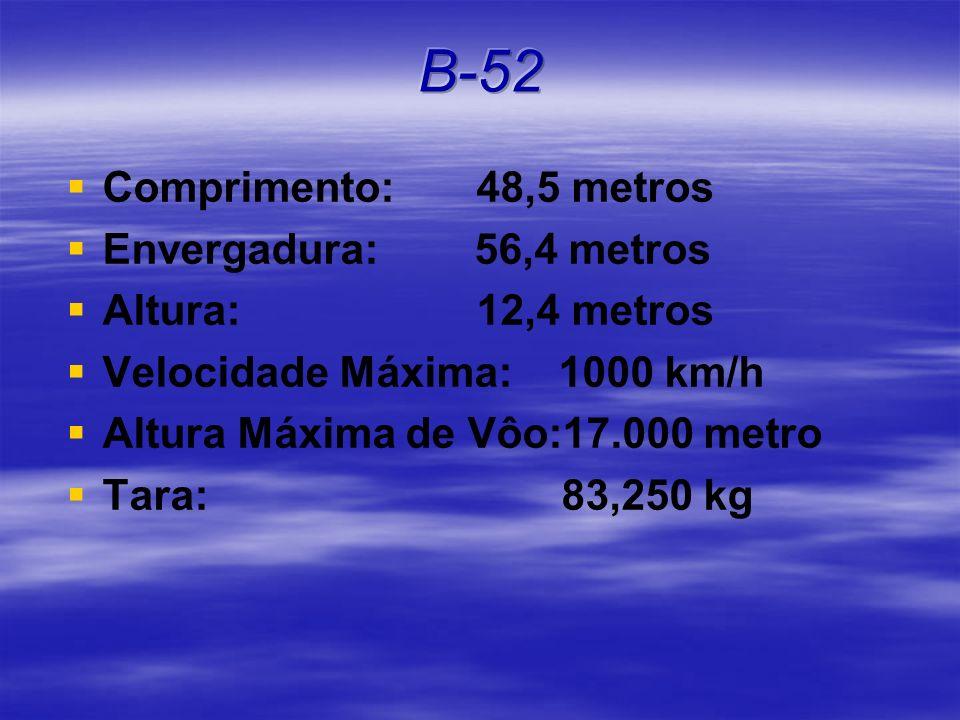 Comprimento: 48,5 metros Envergadura: 56,4 metros Altura: 12,4 metros Velocidade Máxima: 1000 km/h Altura Máxima de Vôo:17.000 metro Tara: 83,250 kg