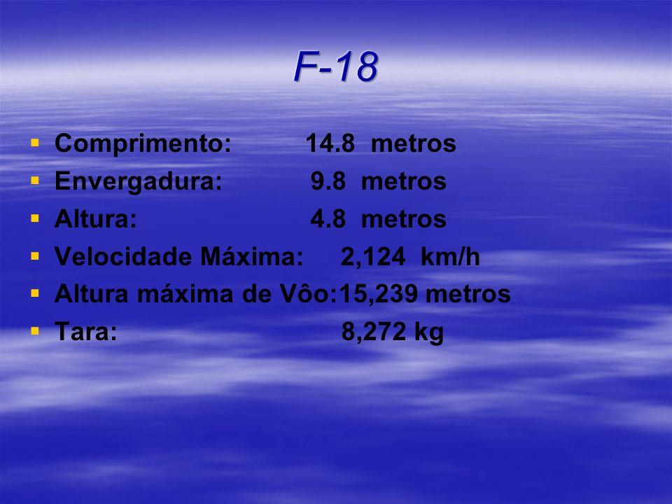Comprimento: 14.8 metros Envergadura: 9.8 metros Altura: 4.8 metros Velocidade Máxima: 2,124 km/h Altura máxima de Vôo:15,239 metros Tara: 8,272 kg
