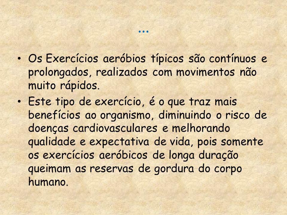 … Os Exercícios aeróbios típicos são contínuos e prolongados, realizados com movimentos não muito rápidos. Este tipo de exercício, é o que traz mais b