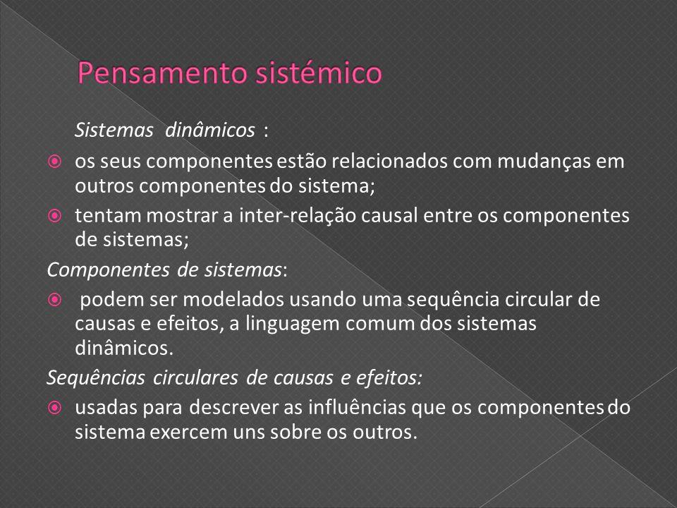 Sistemas dinâmicos : os seus componentes estão relacionados com mudanças em outros componentes do sistema; tentam mostrar a inter-relação causal entre