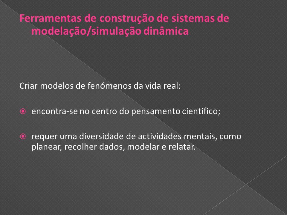 Ferramentas de construção de sistemas de modelação/simulação dinâmica Criar modelos de fenómenos da vida real: encontra-se no centro do pensamento cie